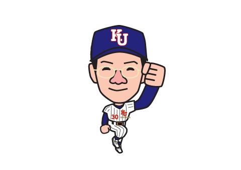 野球のユニフォーム姿の似顔絵イラスト