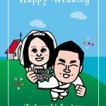 結婚式ウェルカムボード!空手家の旦那の似顔絵イラスト