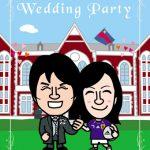 結婚式ウェルカムボード作成!サッカー大好きな慶応大学カップルの似顔絵イラスト