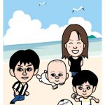 家族の似顔絵イラストを作成!沖縄ビーチで子供とサッカー