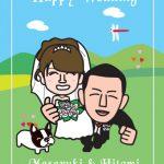結婚式ウェルカムボード!愛犬のフレンチブルドッグと一緒のイラスト