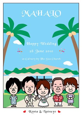 結婚式ウェルカムボード!ハワイのキャルバリーバイザシー教会で挙式!