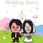 春らしくサクラの背景で結婚式ウェルカムボード!