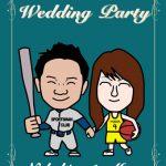 結婚式ウェルカムボード!野球とバスケが好きなスポーツカップル!