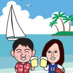 趣味がヨットとバスケのカップルの年賀状イラスト