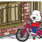 自転車に乗る犬のイラストのポストカード